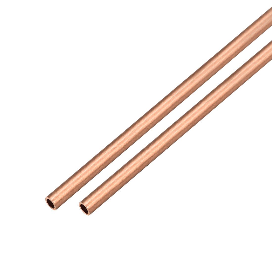 2Pcs 5mm Outside Diameter x 3mm Inside Diameter 500mm Copper Round Tube Pipe