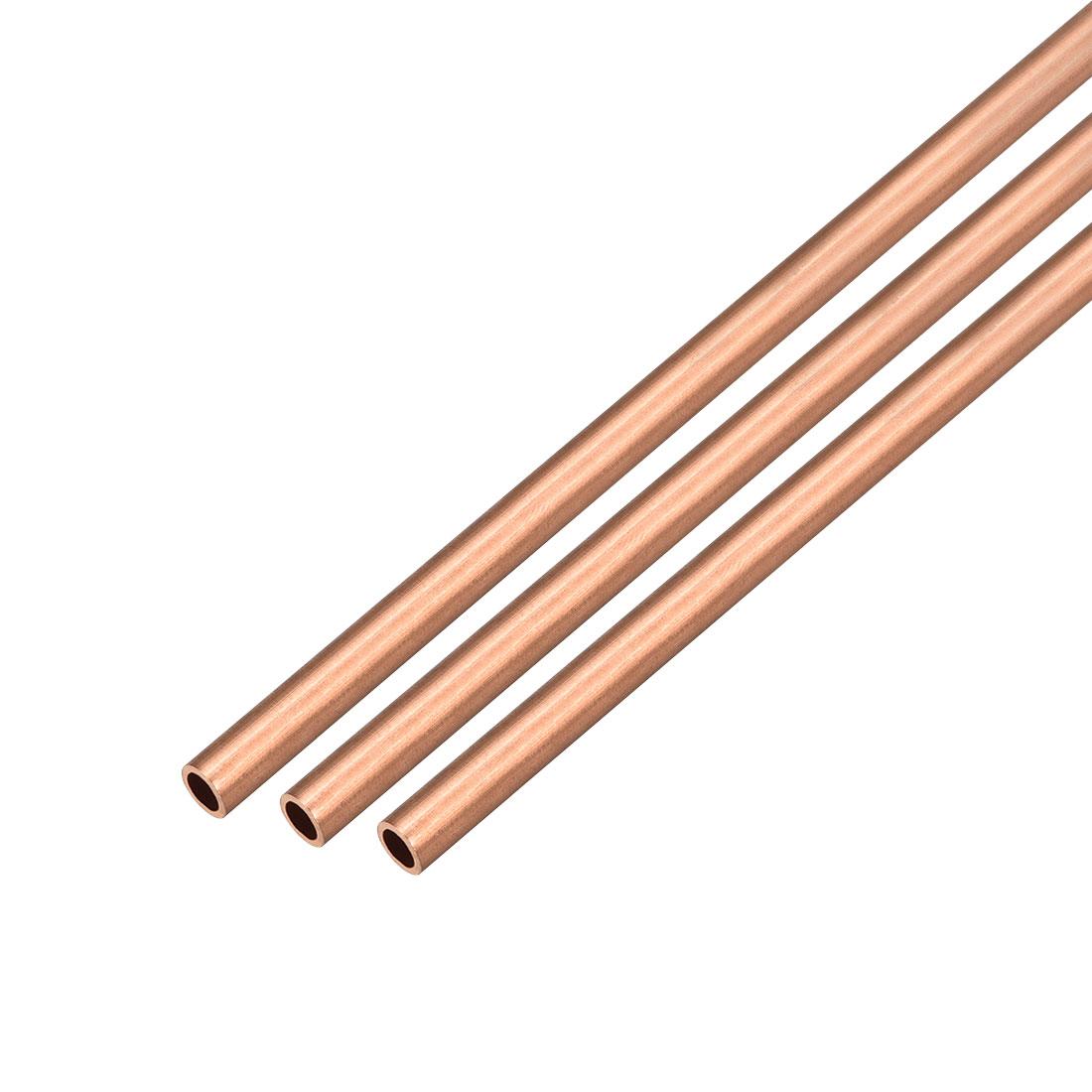 3Pcs 5mm Outside Diameter x 3mm Inside Diameter 500mm Copper Round Tube Pipe