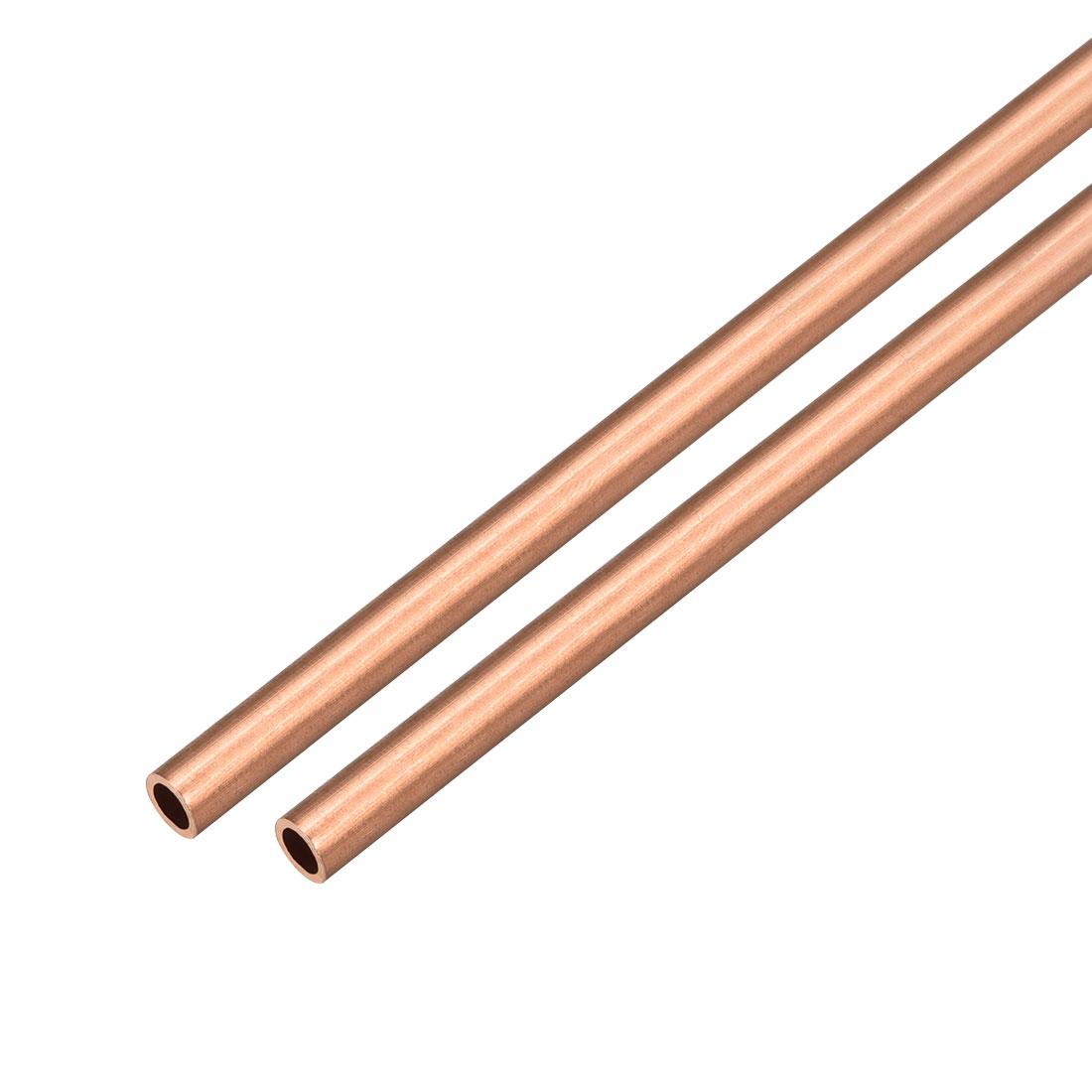 2Pcs 6mm Outside Diameter x 4mm Inside Diameter 500mm Copper Round Tube Pipe