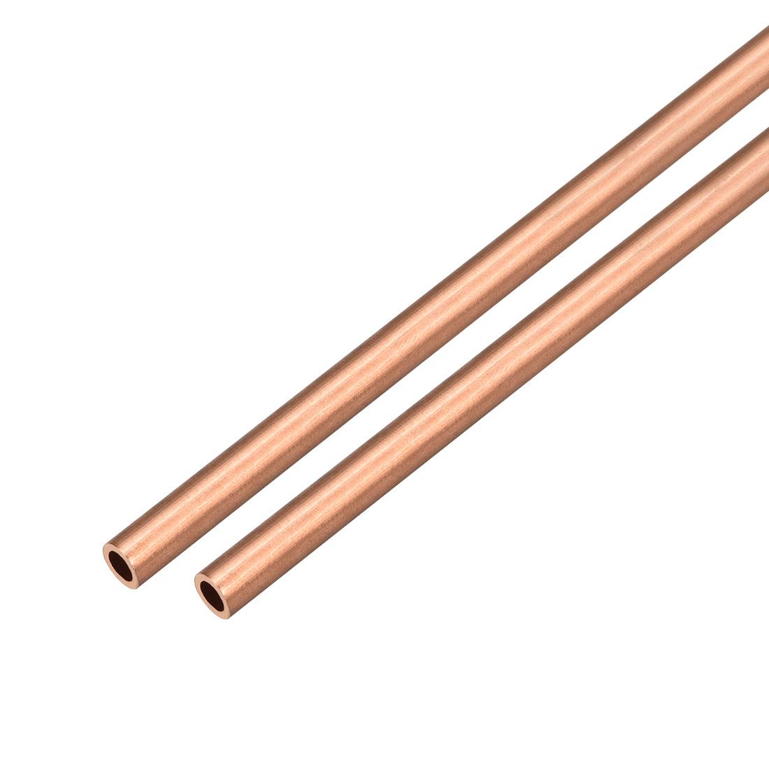 2Pcs 6mm Outside Diameter x 3mm Inside Diameter 500mm Copper Round Tube Pipe