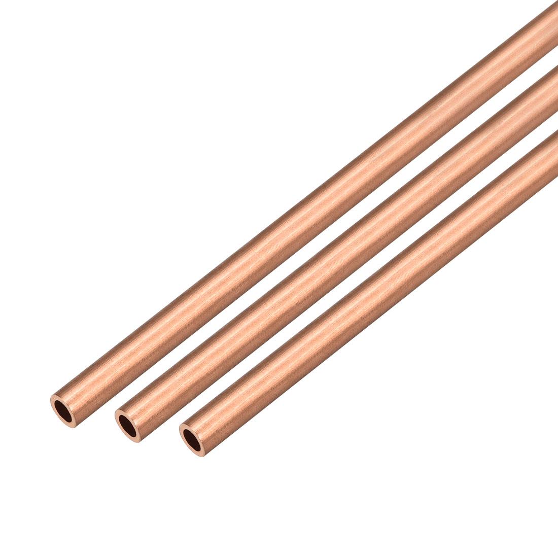 3Pcs 6mm Outside Diameter x 3mm Inside Diameter 500mm Copper Round Tube Pipe