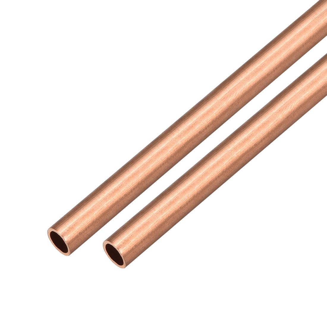 2Pcs 7mm Outside Diameter x 6mm Inside Diameter 500mm Copper Round Tube Pipe