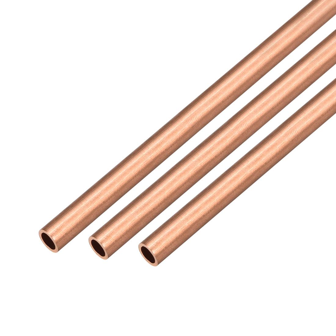 3Pcs 7mm Outside Diameter x 5mm Inside Diameter 500mm Copper Round Tube Pipe