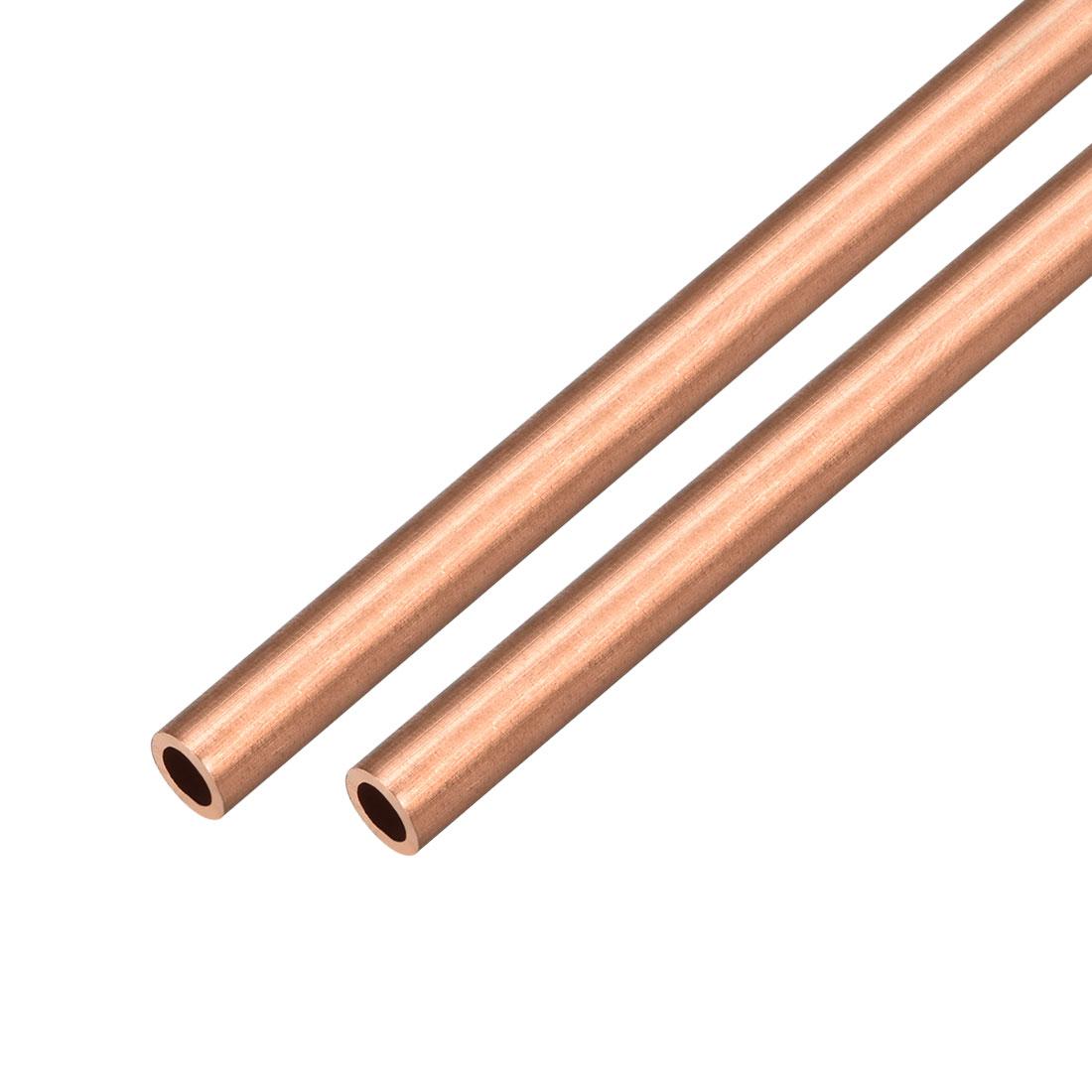 2Pcs 7mm Outside Diameter x 4mm Inside Diameter 500mm Copper Round Tube Pipe