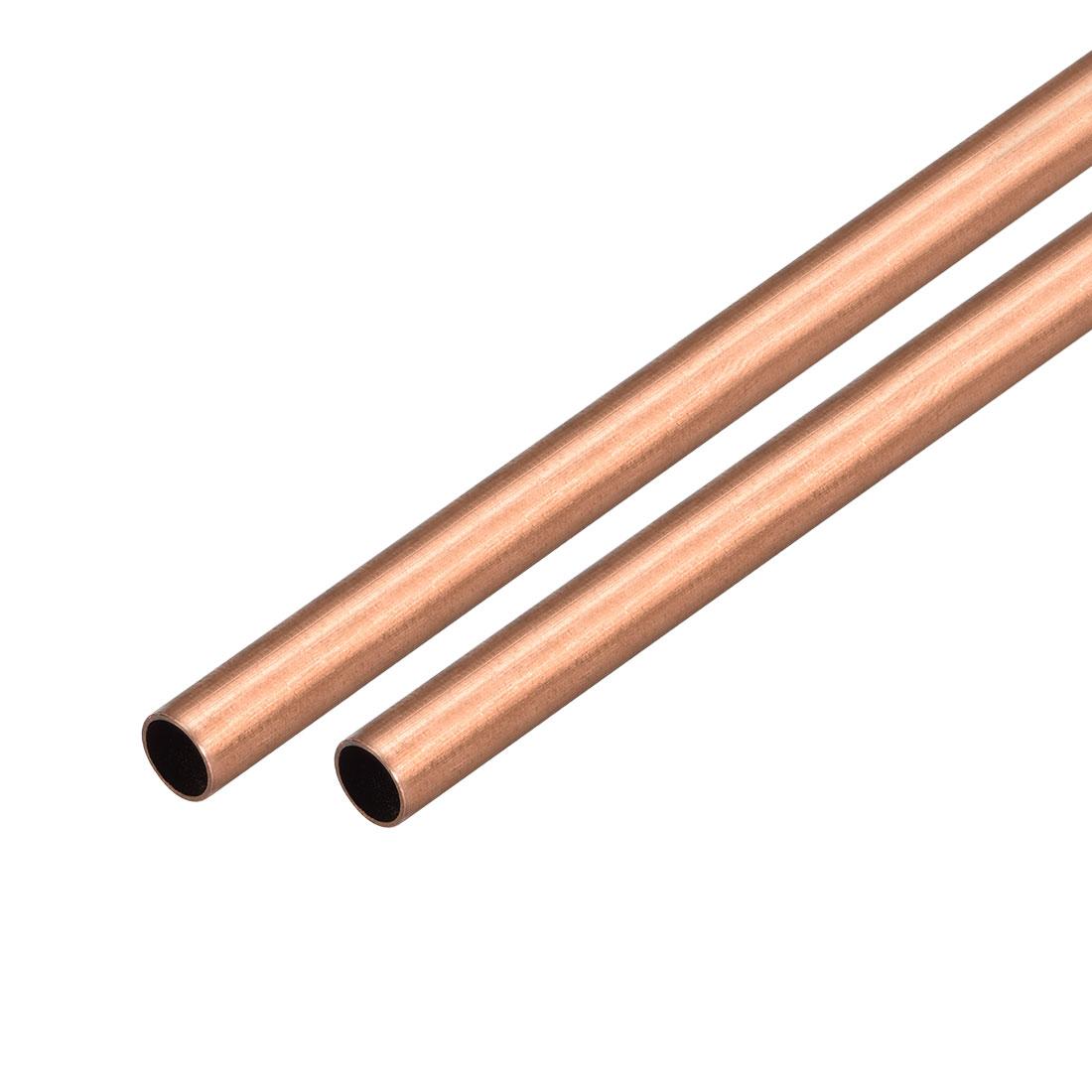 2Pcs 8mm Outside Diameter x 7mm Inside Diameter 500mm Copper Round Tube Pipe
