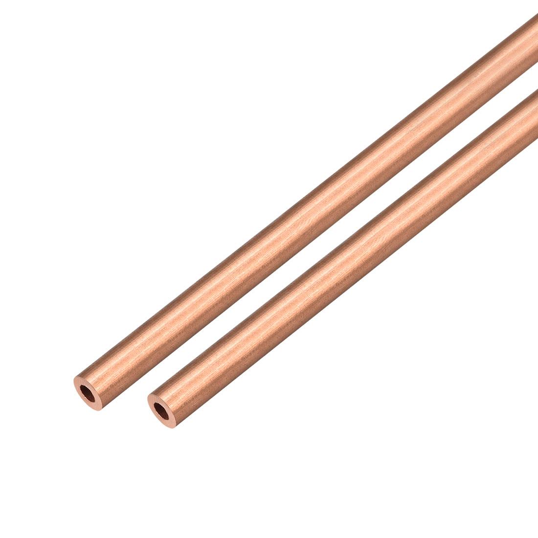 2Pcs 10mm Outside Diameter x 8mm Inside Diameter 500mm Copper Round Tube Pipe