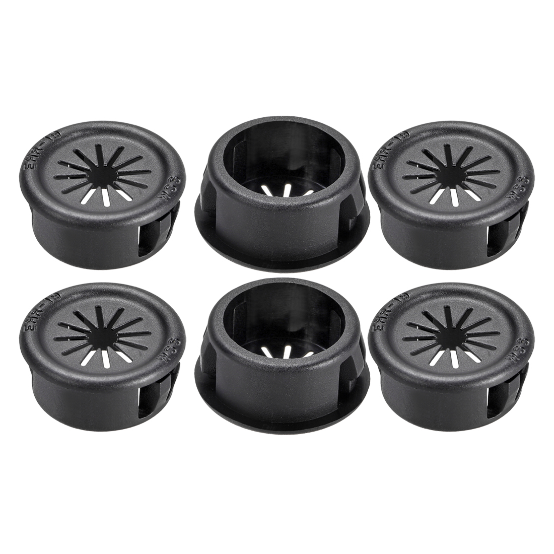 19mm Mounted Dia Cable Hose Snap Bushing Grommet Protector Black 6pcs