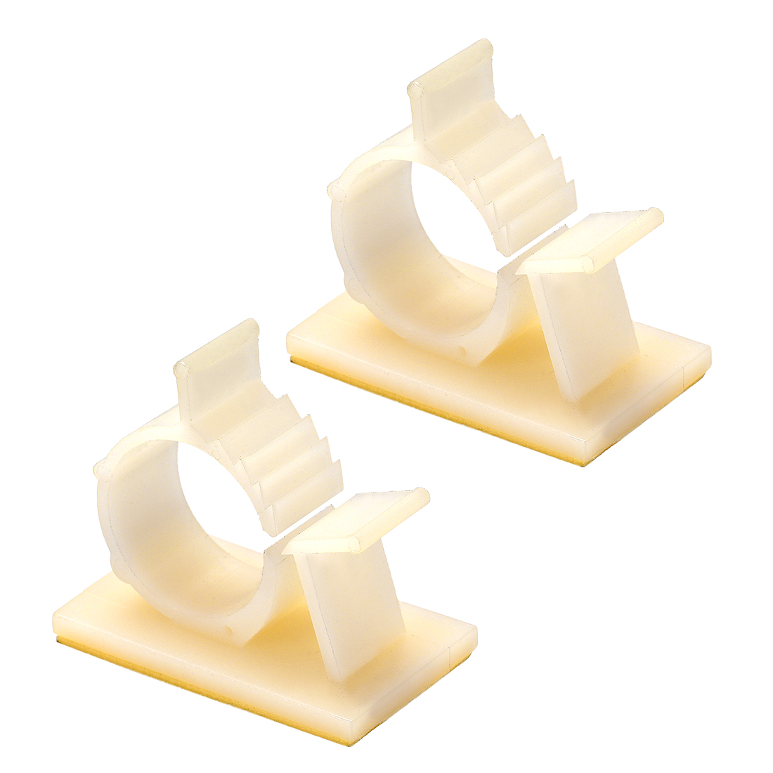Self Adhesive Adjustable Wire Cable Clip White for 16.5mm-20.1mm Dia 2pcs