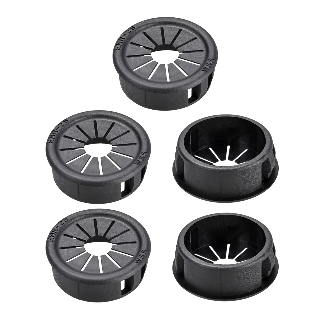 28mm Mounted Dia Cable Hose Snap Bushing Grommet Protector Black 5pcs