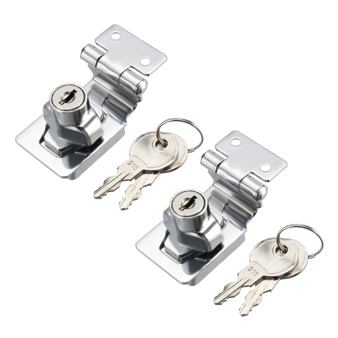 Keyed Hasp Lock 54mm Twist Knob Keyed Locking Hasp for Door Cabinet 2 Pcs