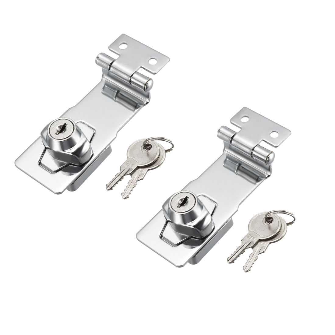 Keyed Hasp Lock 92mm Twist Knob Keyed Locking Hasp for Door Cabinet 2 Pcs