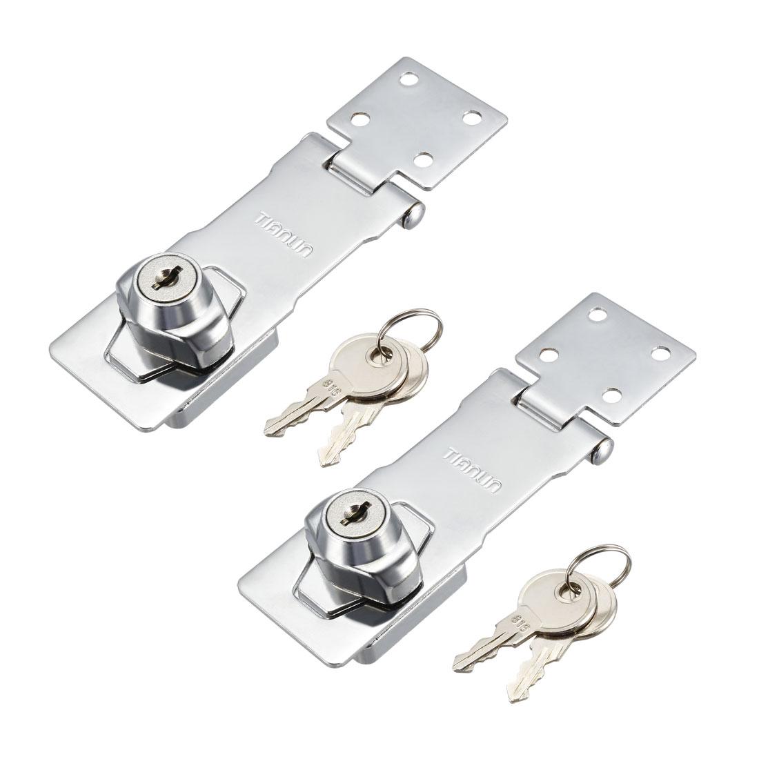 Keyed Hasp Lock 143mm Twist Knob Keyed Locking Hasp for Door Cabinet 2 Pcs