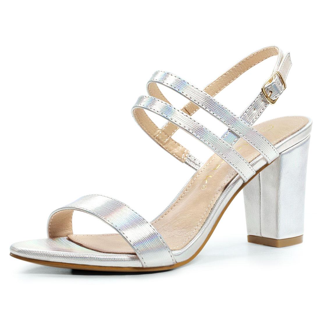 Allegra K Women's Slingback Block Heel Ankle Strap Sandals Silver US 5.5