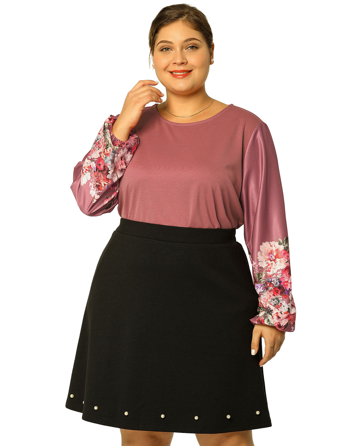 Womens Plus Size Floral Bishop Puff Sleeves Loose Casual Top Pink 1X