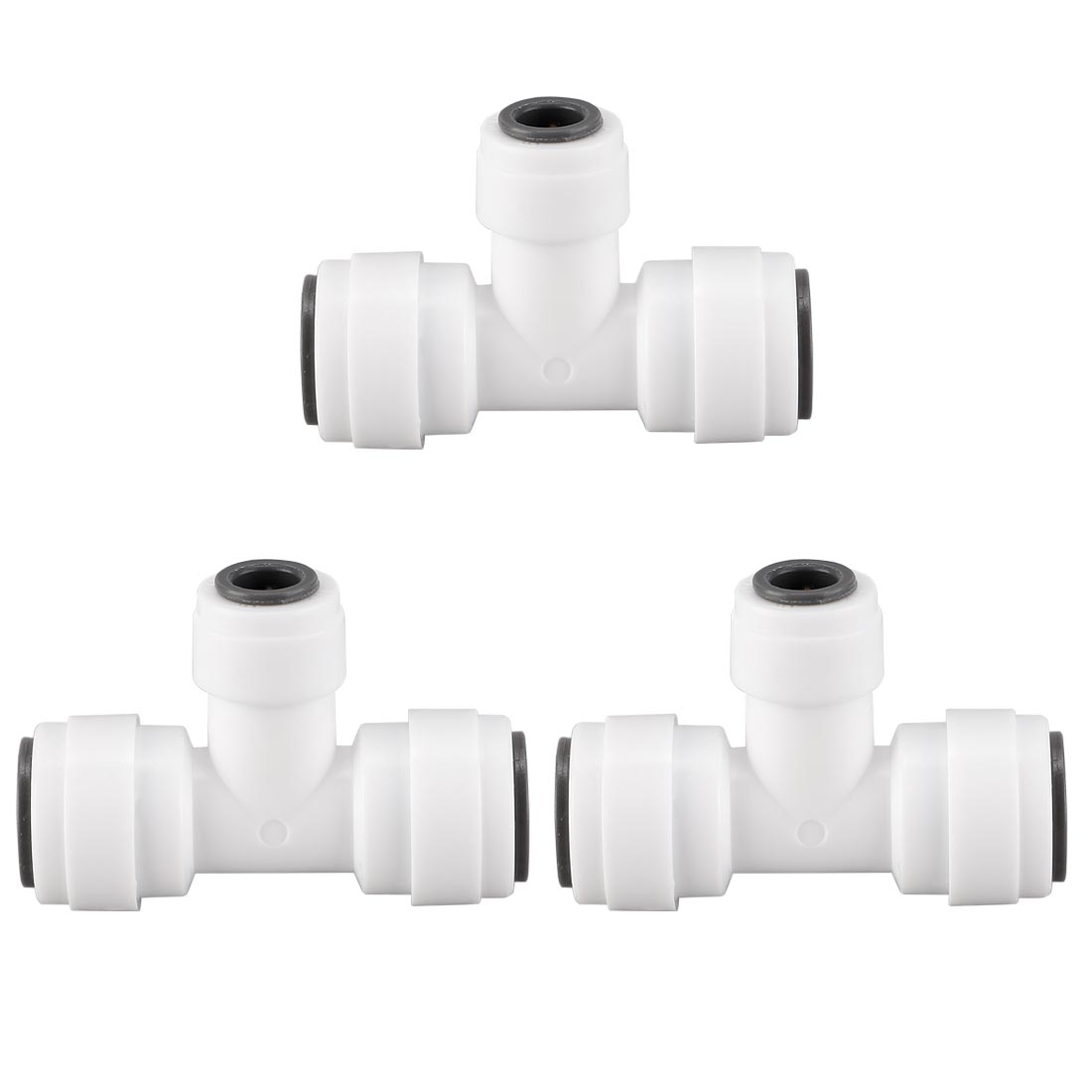 1/4 to 3/8 Inch OD T-type Quick Connect Water Tube Fittings RO Fittings 3pcs