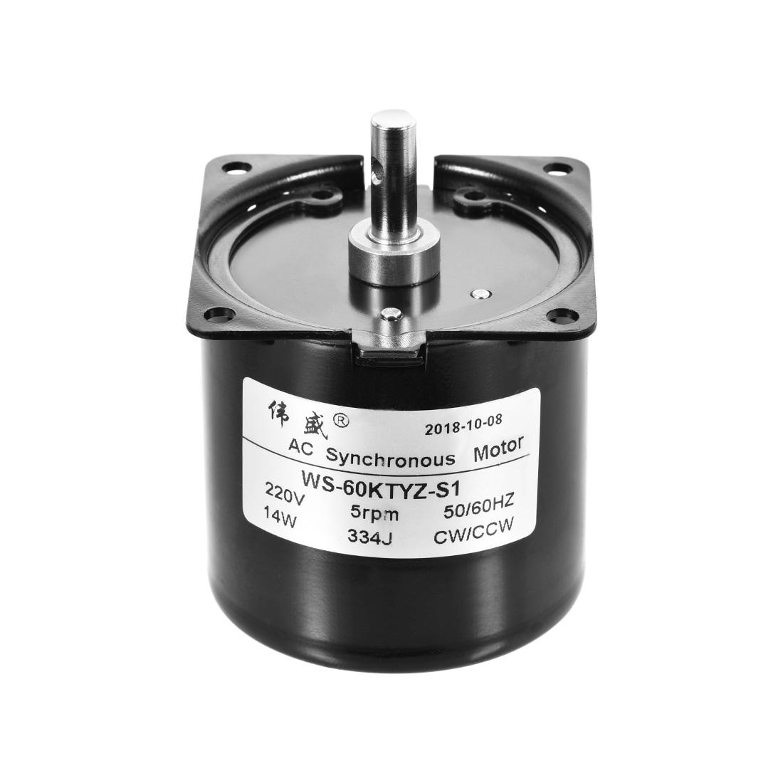 WS-60KTYZ-S1 AC Synchronous Gear Motor 220V 5RPM 14W CW/CCW