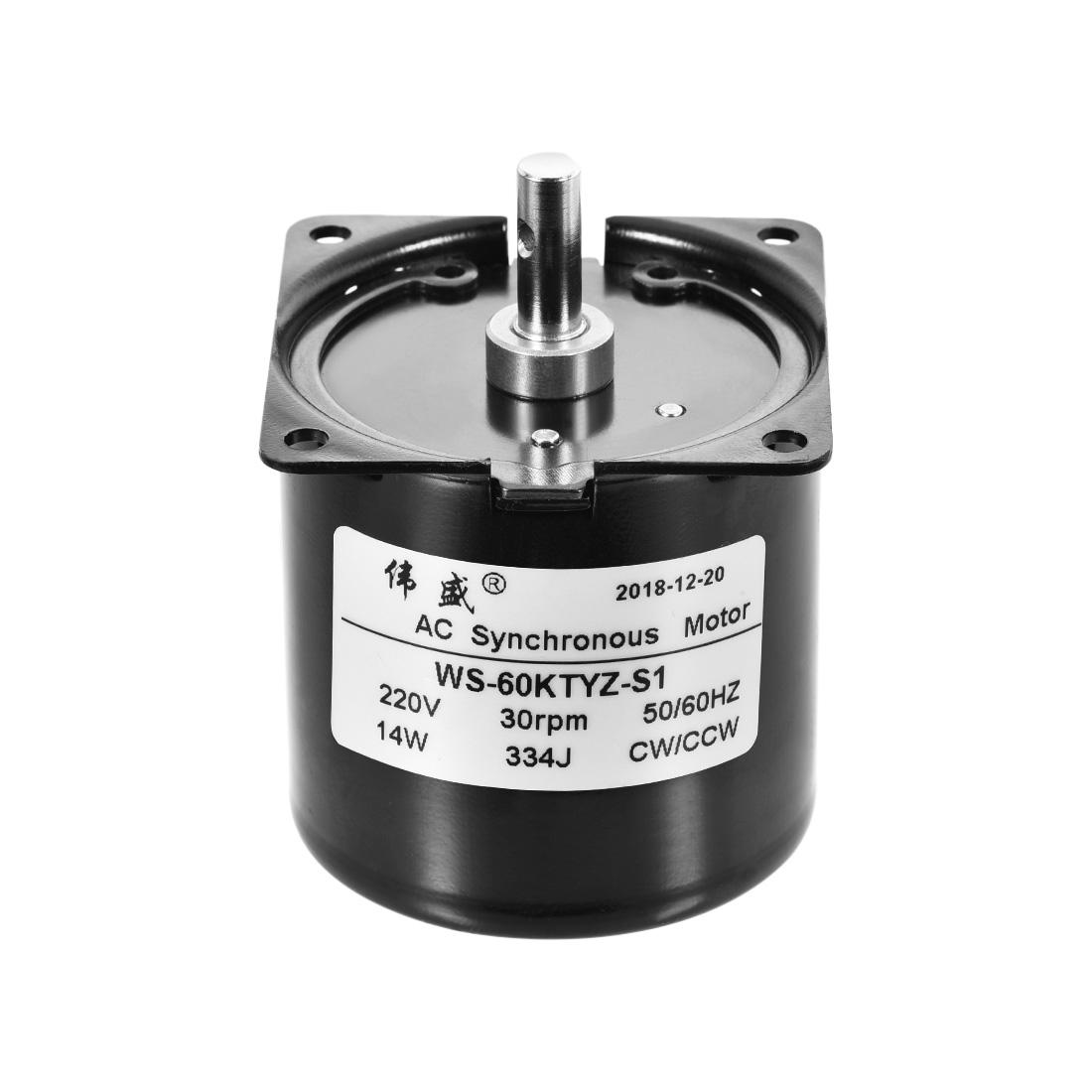 WS-60KTYZ-S1 AC Synchronous Gear Motor 220V 30RPM 14W CW/CCW