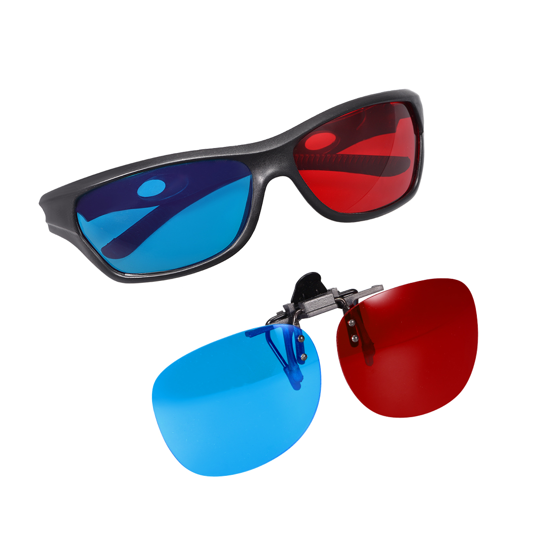 Red-Blue Anaglyph 3D Glasses and 3D Clip-on Glasses for Movies 2 set