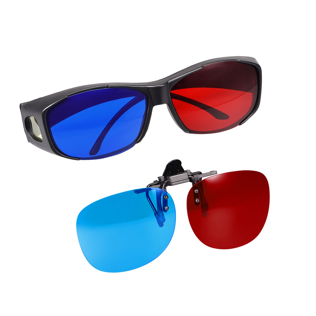 Red-Blue 3D Glasses and 3D Clip-on Glasses for Movies Anaglyph Photos 2 set