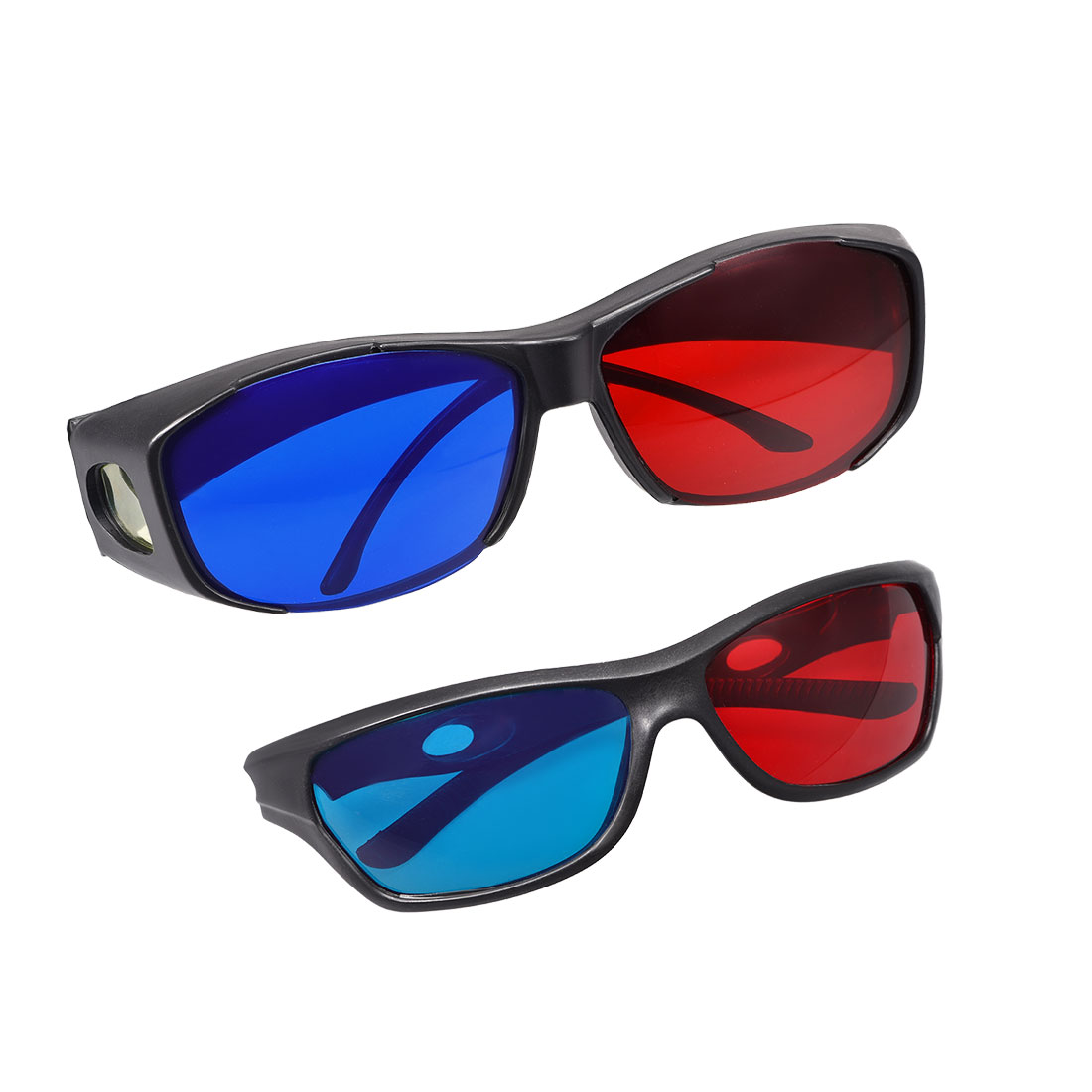 Red-Blue 3D Glasses Black Frame 3D Visoin Glass for Movies Anaglyph Photos 2set