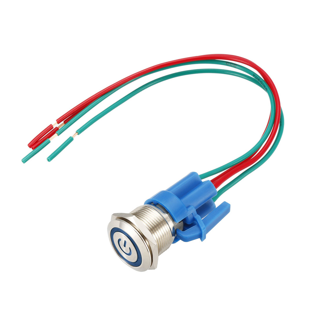 Latching Push Button Switch 19mm Mounting 1NO 12V Blue LED with Socket Plug