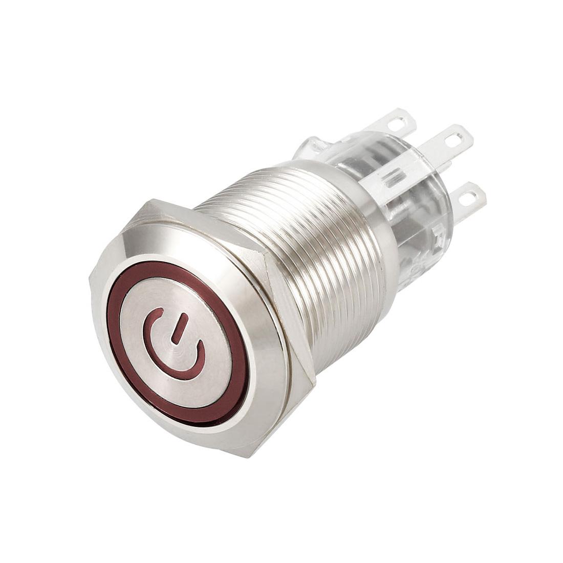 Latching Metal Push Button Switch 19mm Mounting 1NO 1NC 12V Red LED Light 1pcs