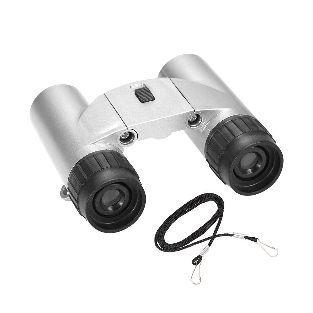 Toy Binoculars 7X30 Compact Foldable Binoculars Silver Tone with LED light