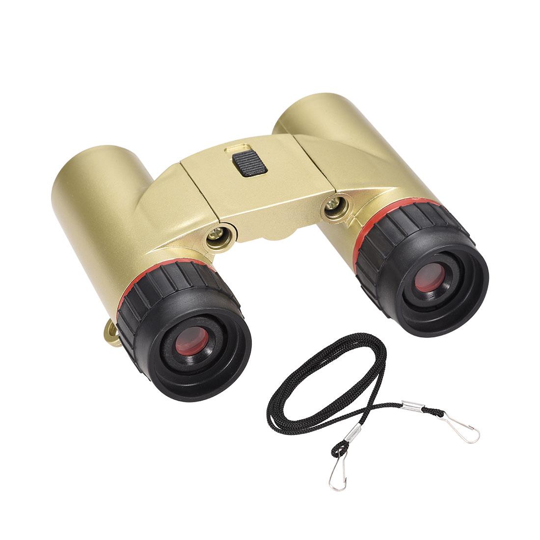 Toy Binoculars 7X30 Compact Foldable Binoculars Gold Tone with LED light