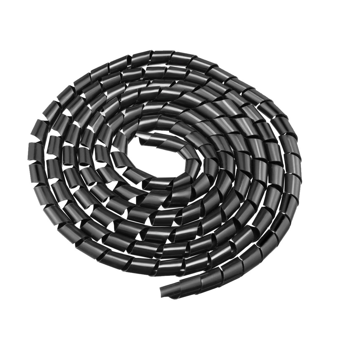 11mm Flexible Spiral Tube Cable Wire Wrap Computer Manage Cord 6.5M Length Black