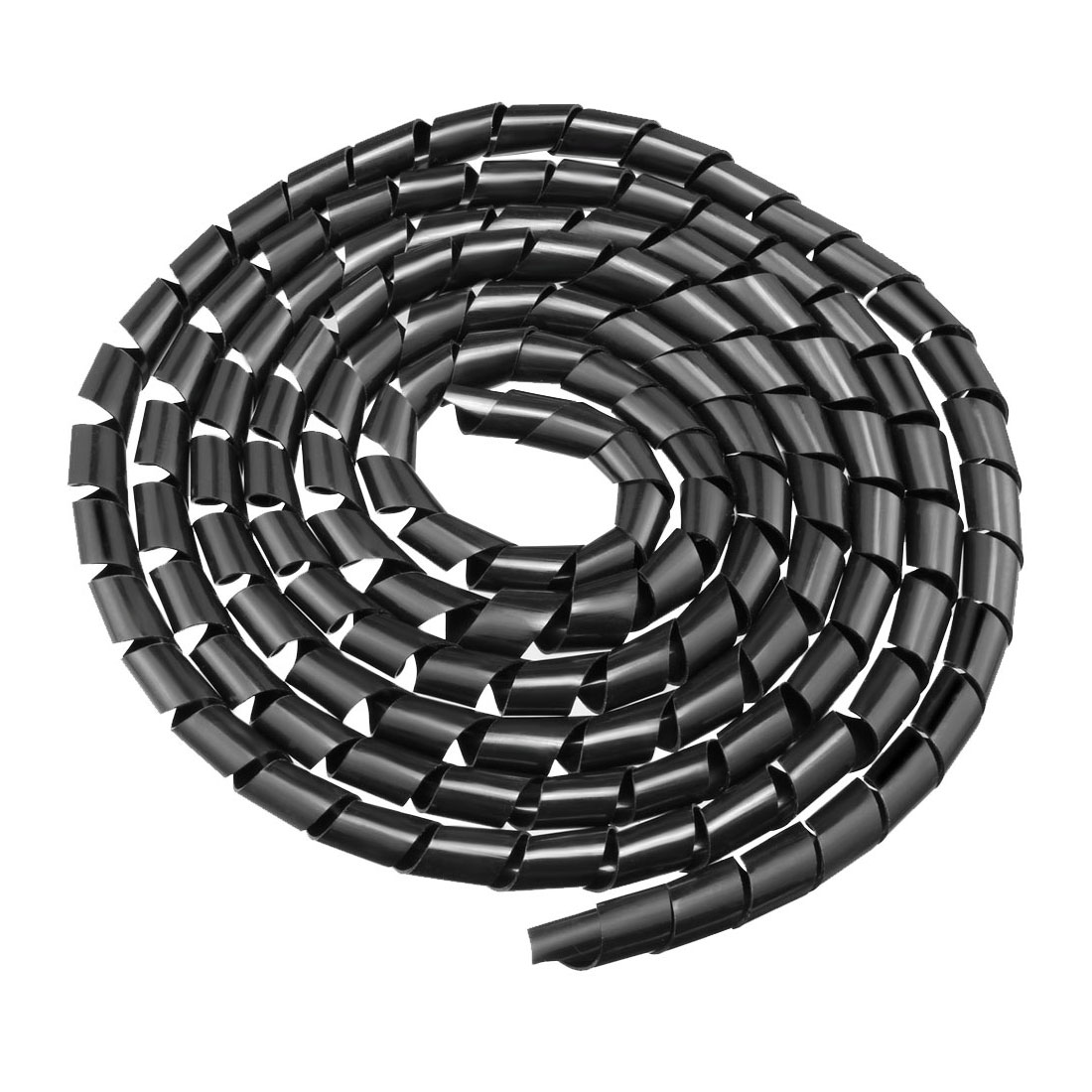 16mm Flexible Spiral Tube Cable Wire Wrap Computer Manage Cord 3Meter Black