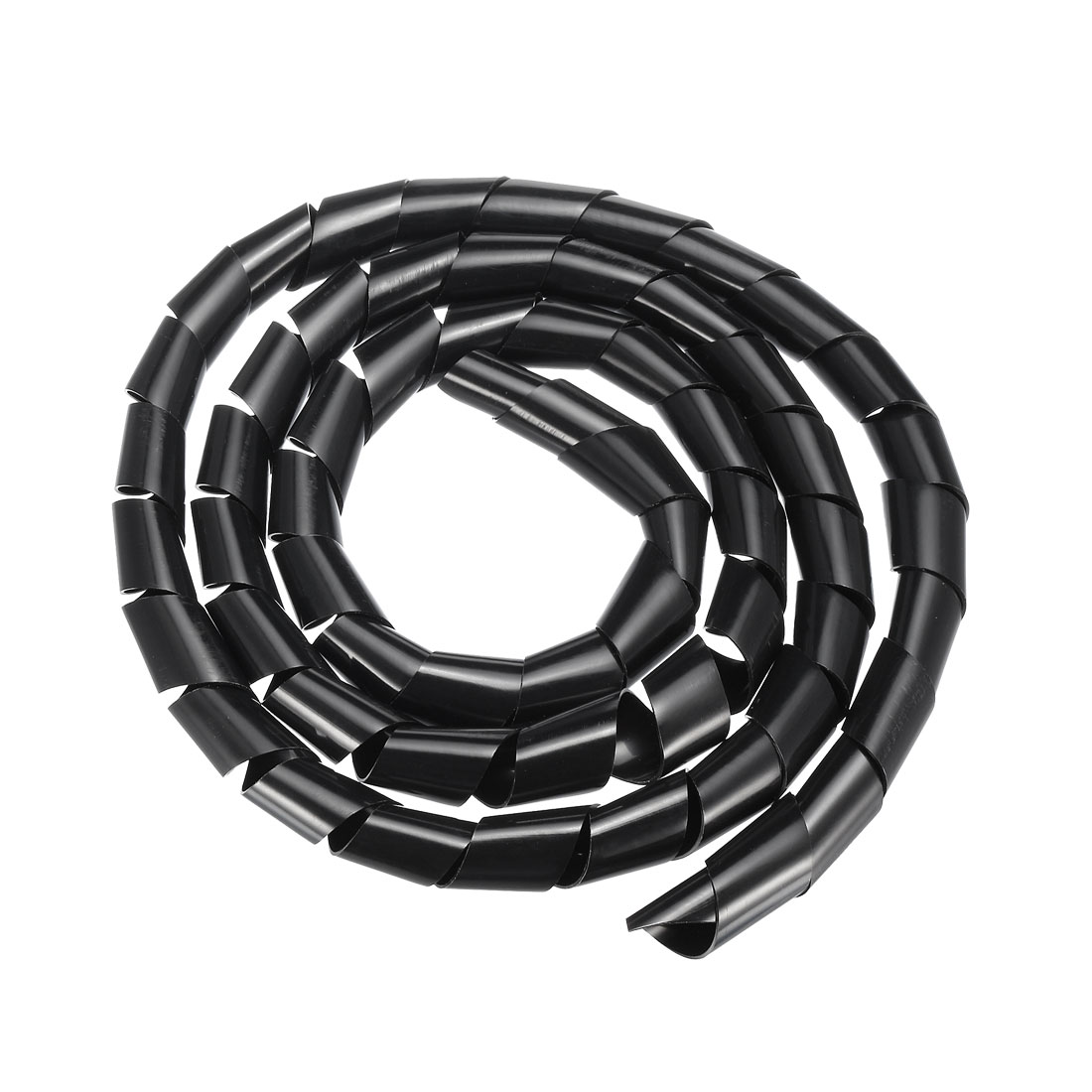 21mm Flexible Spiral Tube Cable Wire Wrap Computer Manage Cord 2M Length Black