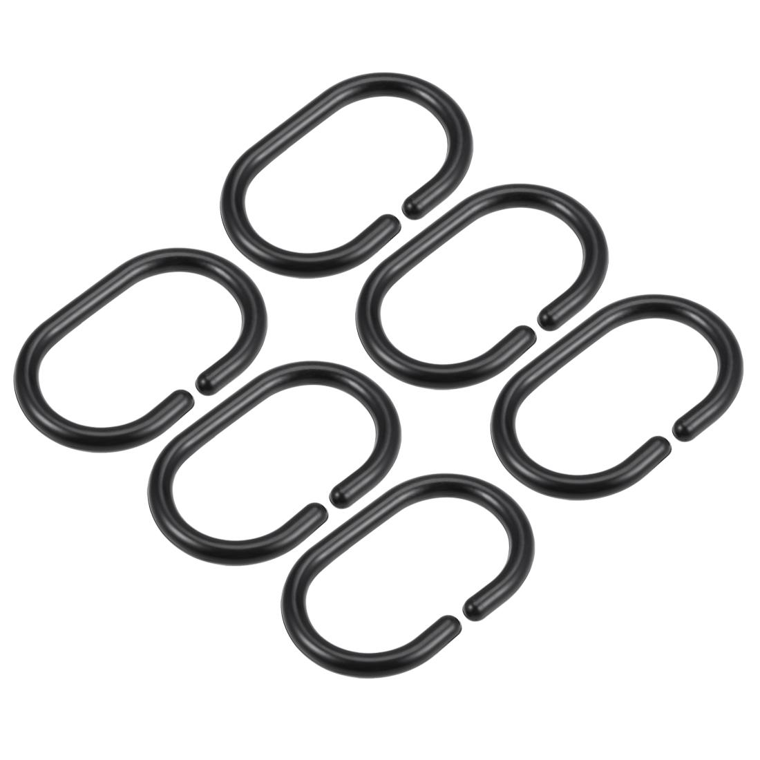 Shower Curtain Rings Plastic Hooks for Bathroom Drape Rod Black 6 Pcs