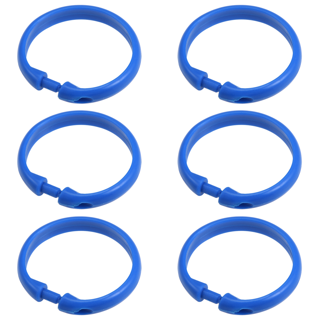 Curtain Rings Plastic O Shape Snap for Curtain Rod Blue 50mm Inner Dia 6 Pcs