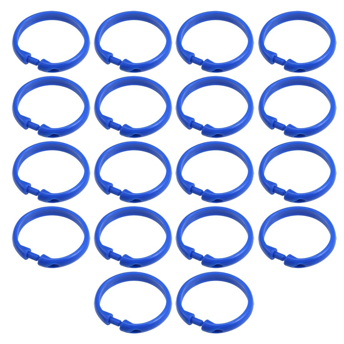 Curtain Rings Plastic O Shape Snap for Curtain Rod Blue 50mm Inner Dia 18 Pcs