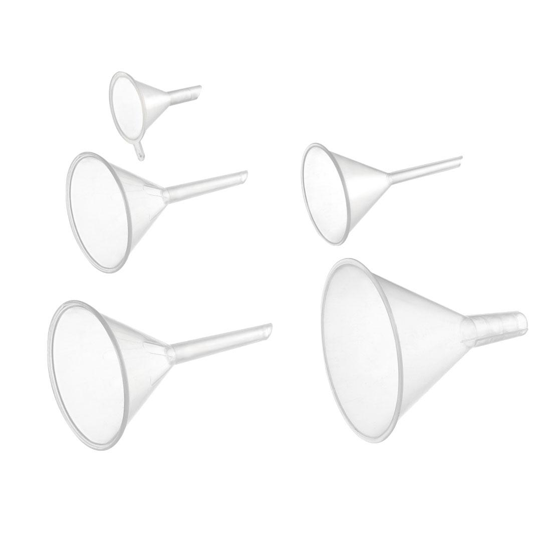 Clear Plastic Funnels Set Transfer Filling Tool for Filling Oils Laboratory