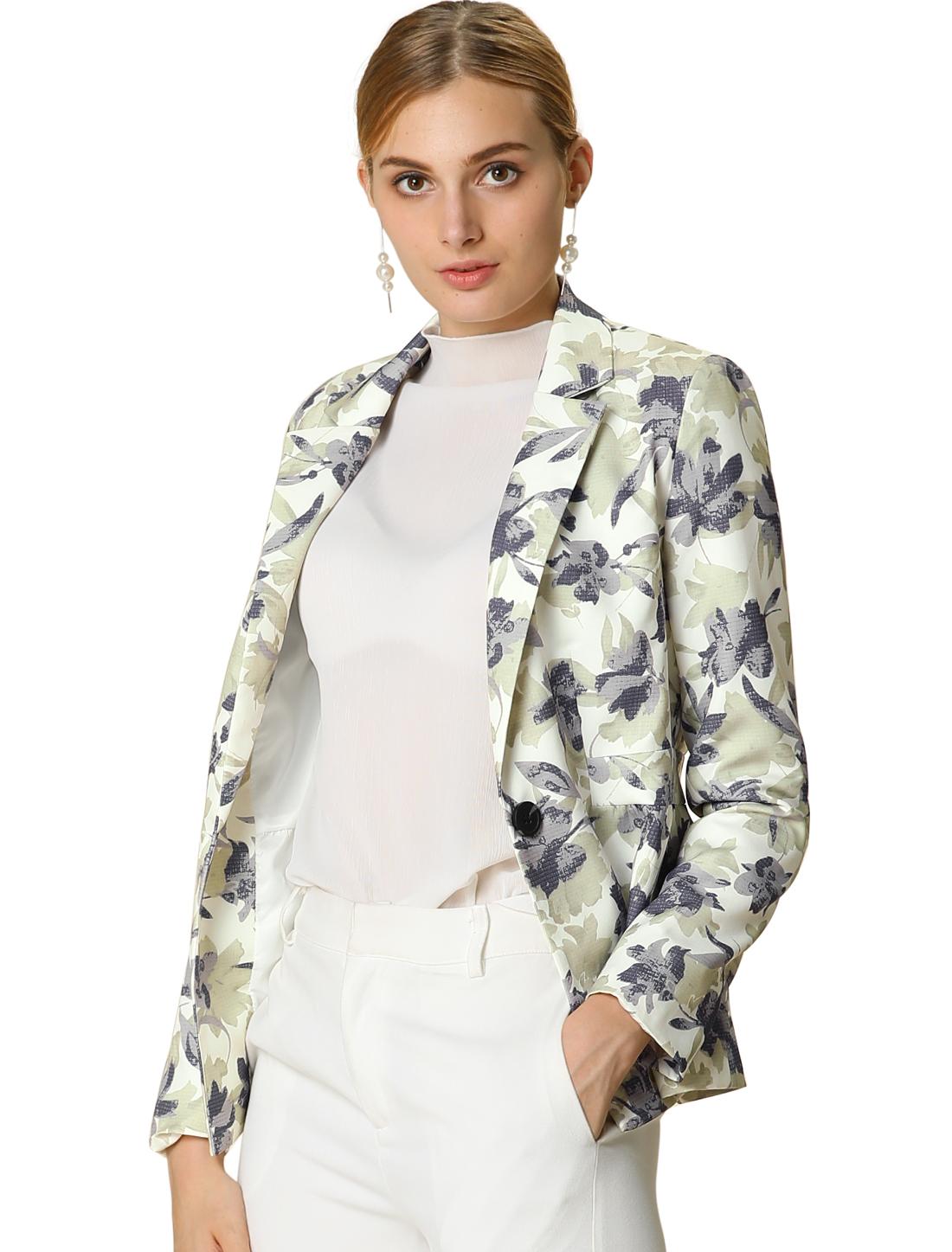 Women's Floral Print One Button Notched Lapel Blazer Jacket White M