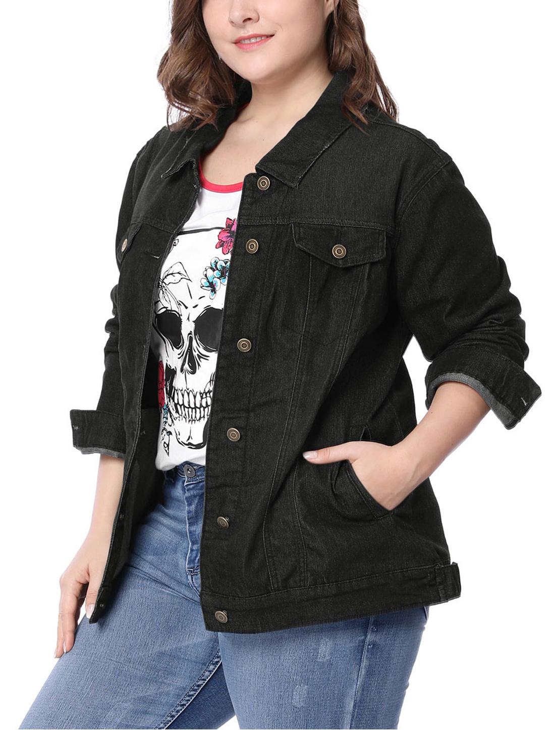 Women Plus Size Stitching Button Front Washed Denim Jacket Black 4X