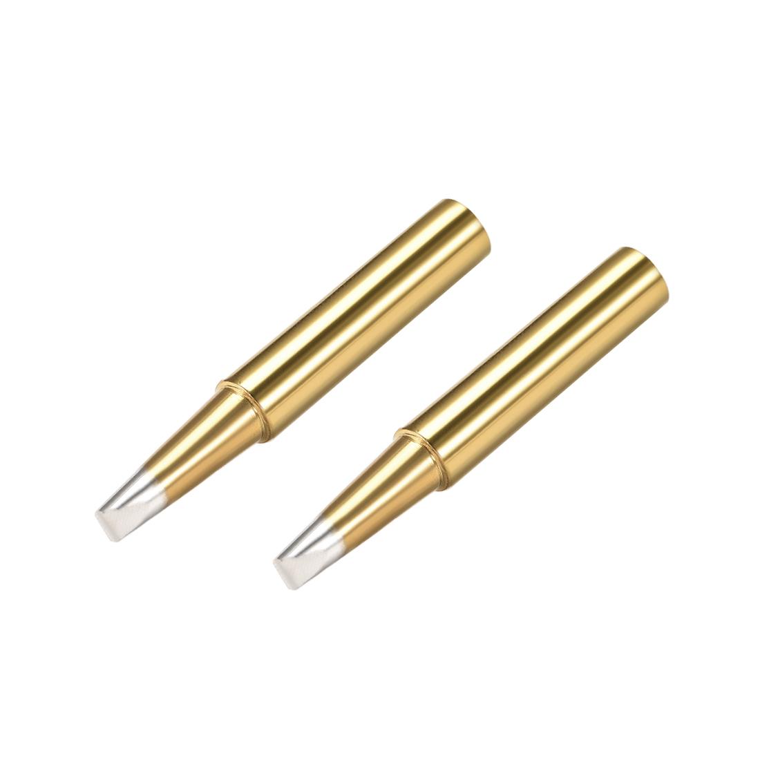 Soldering Iron Tip Replacement 3.2mm Point Width Solder Tip 3.2D Golden 2pcs