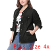 Women Plus Size Stitching Button Front Washed Denim Jacket Black 4X