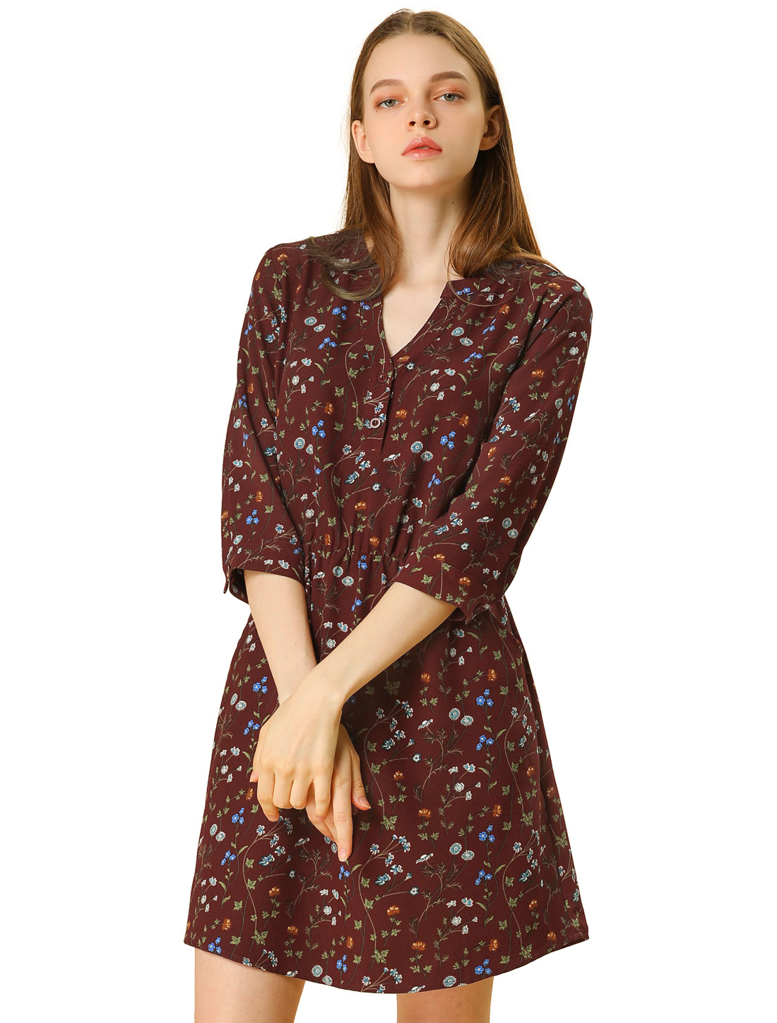 Allegra K Women Button Down V Neck Side Pockets Floral Dress Purplish Red M