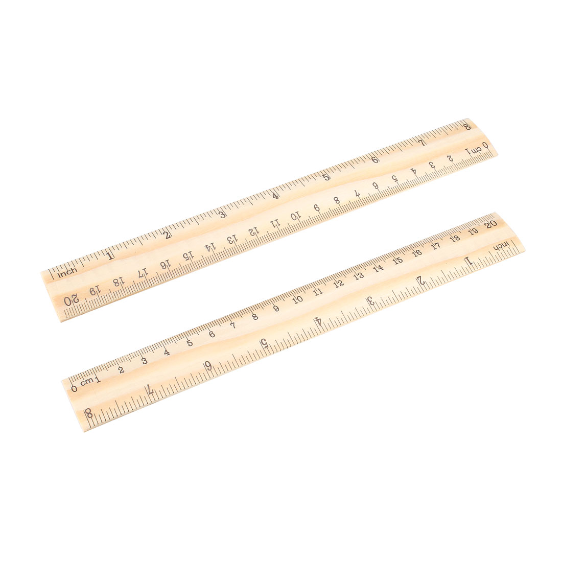 Wood Ruler 20cm 8 Inch Double Scale Measuring Tool for Office 12pcs