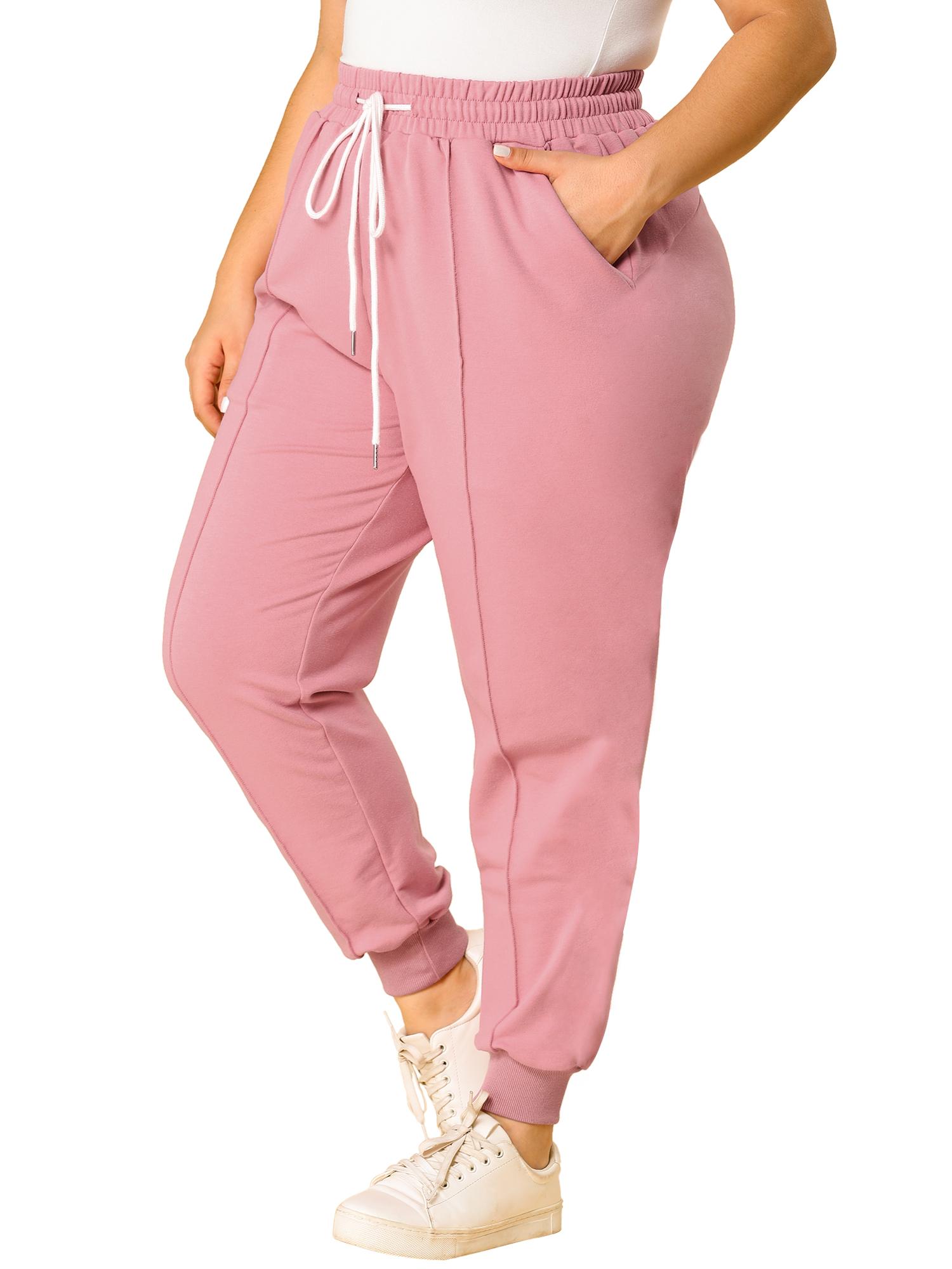 Women's Plus Size Sweatpants Elastic Waist Contrast Jogger Pant Pink 1X