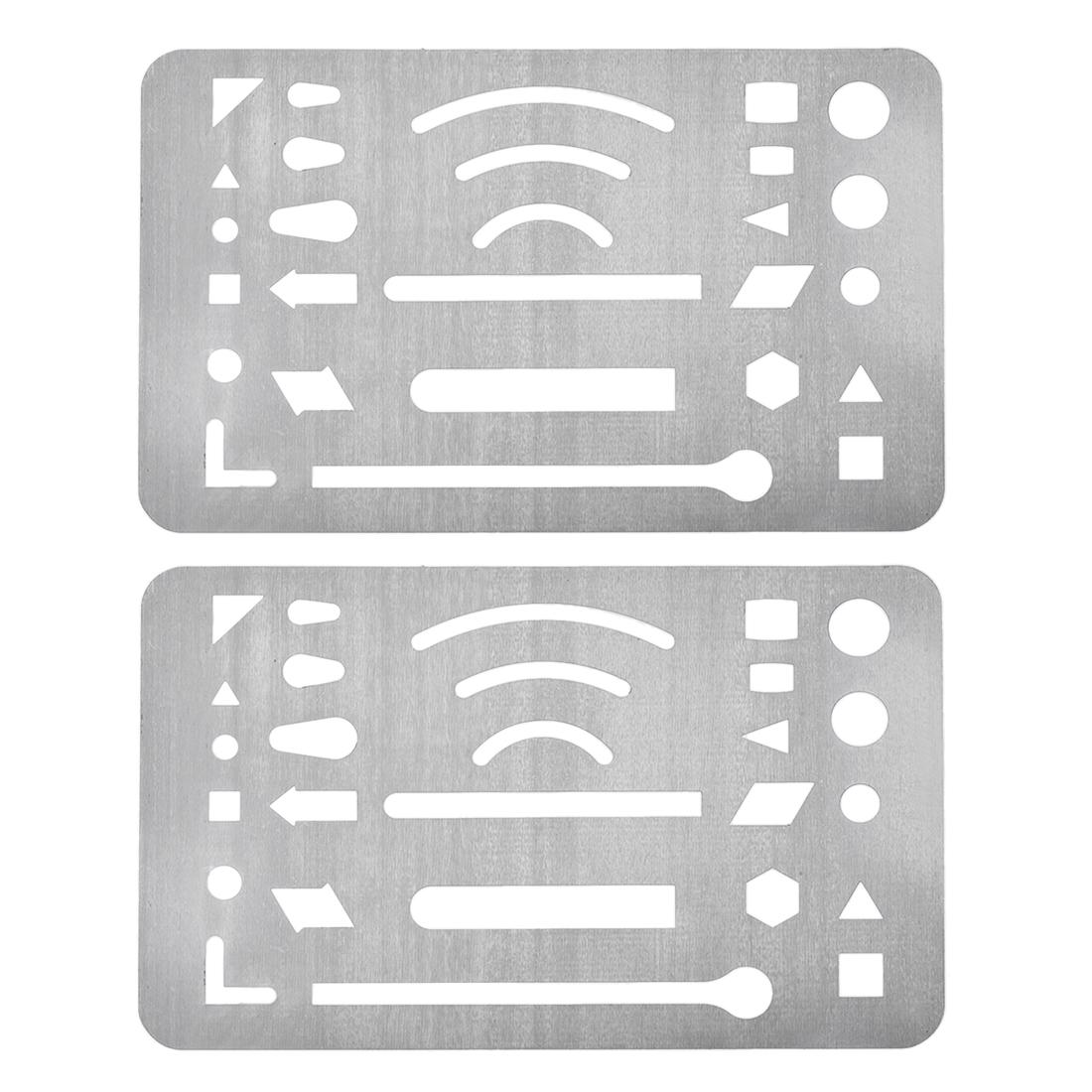 Erasing Shield 27 Patterns Stainless Steel Drawing Template 2pcs