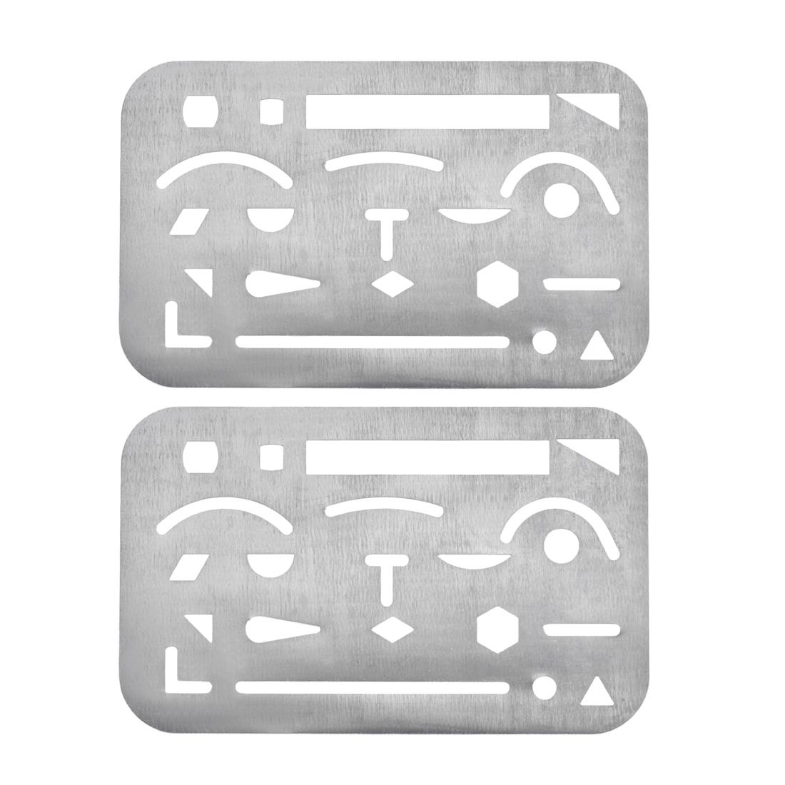 Erasing Shield 21 Patterns Stainless Steel Drawing Template 2pcs