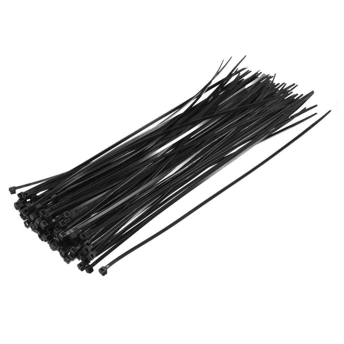 Cable Zip Ties 250mmx3.6mm Self-Locking Nylon Tie Wraps Black 100pcs