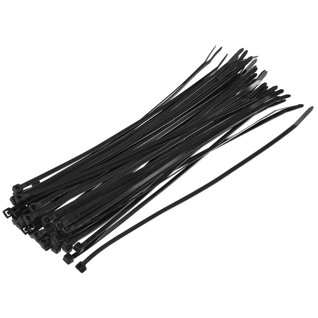 Cable Zip Ties 200mmx5.2mm Self-Locking Nylon Tie Wraps Black 100pcs