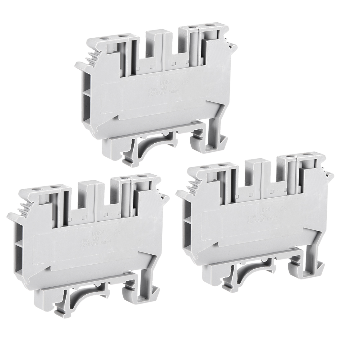 UDK4 DIN Rail Terminal Block Screw Clamp 400V 50A Gray for 22-8 AWG 3 Pcs