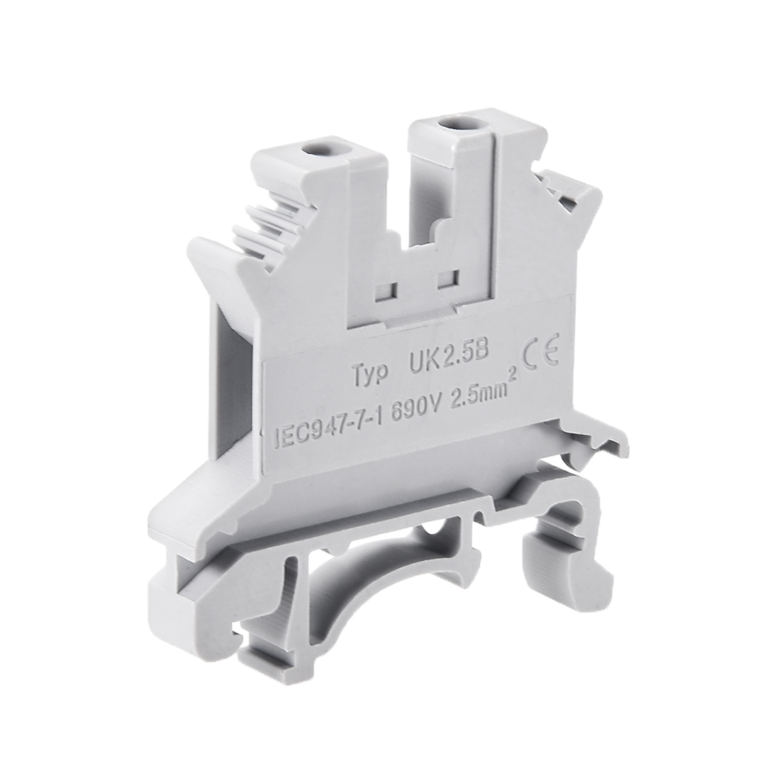 UK2.5B DIN Rail Terminal Block Screw Clamp Connector 690V 32A Gray for 24-16 AWG