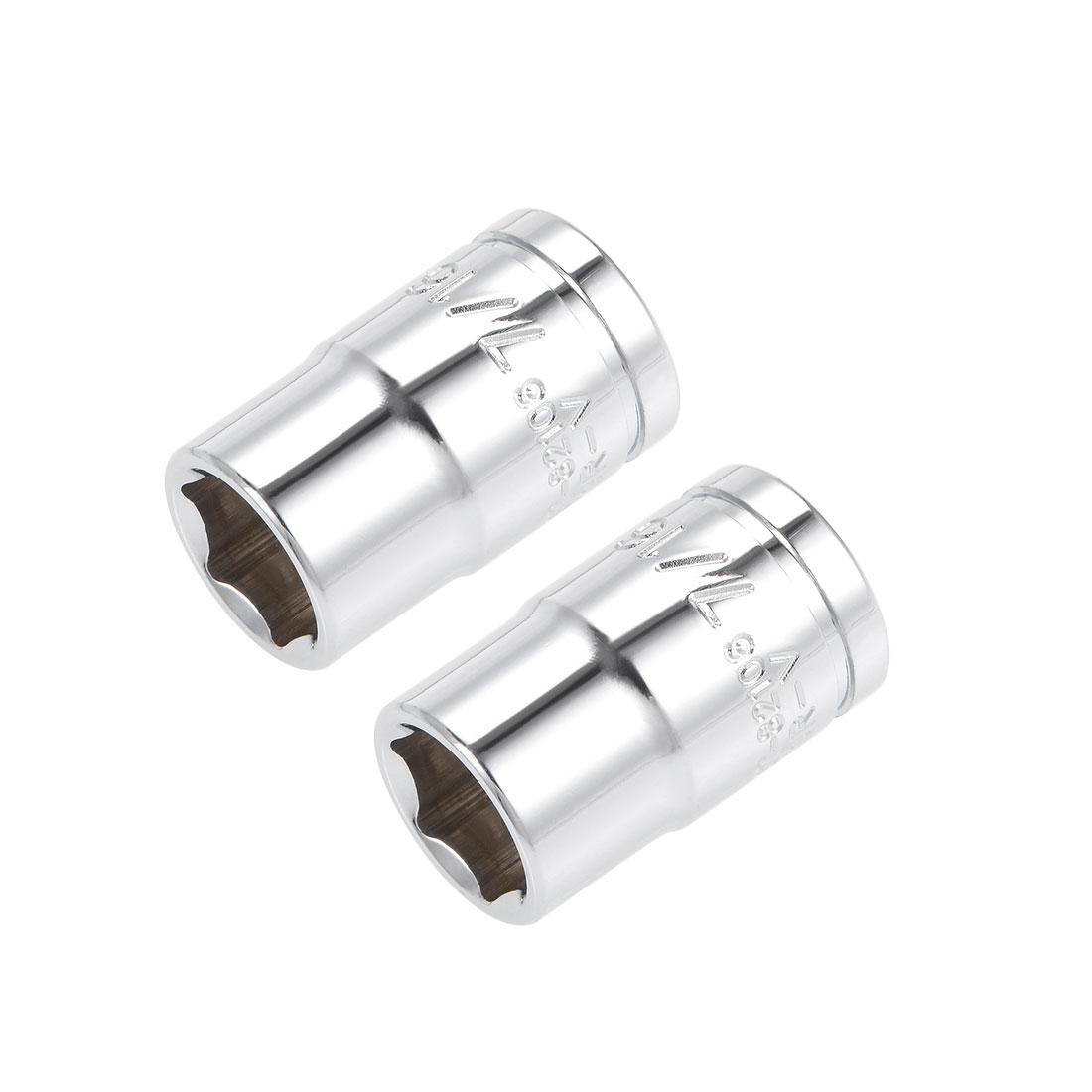 2 Pcs 3/8-inch Drive 7/16-inch 6-Point Shallow Socket, Cr-V