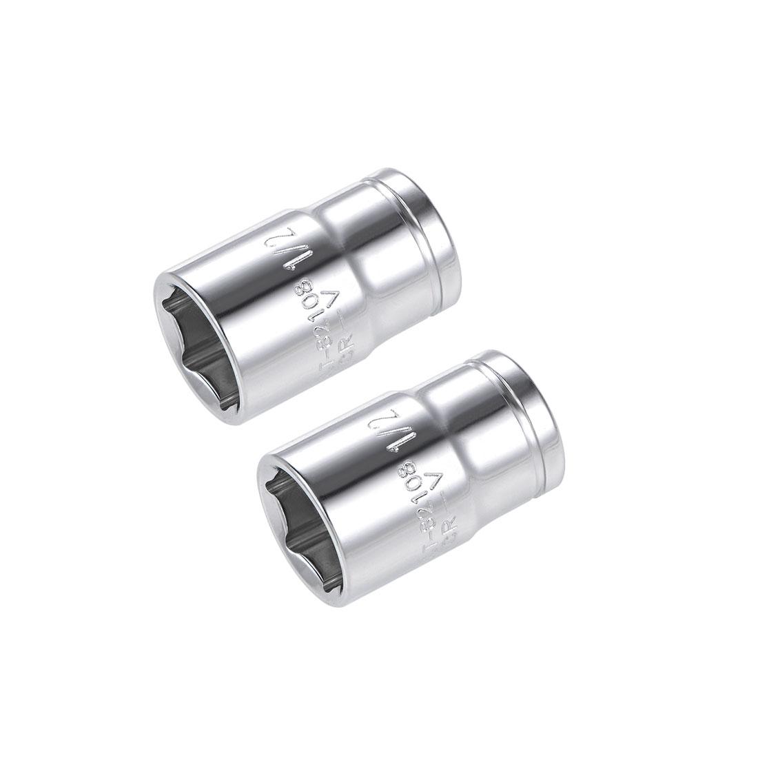 2 Pcs 3/8-inch Drive 1/2-inch 6-Point Shallow Socket Tool, Cr-V